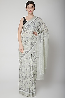Sky Blue Block Printed Saree Set by Avni Bhuva