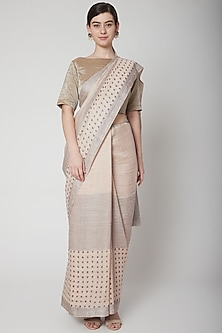 Grey Block Printed Saree Set by Avni Bhuva