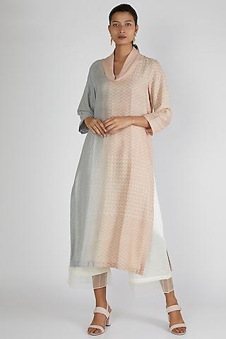 Blush Pink & Grey Silk Tunic by Avni Bhuva