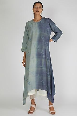 Cobalt Blue Asymmetric Tunic by Avni Bhuva