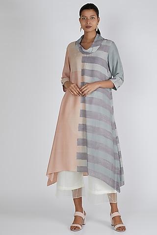 Blush Pink & Powder Blue Asymmetric Tunic by Avni Bhuva