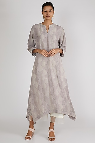 Grey Printed Tunic by Avni Bhuva