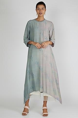 Cobalt Blue & Grey Asymmetric Tunic by Avni Bhuva