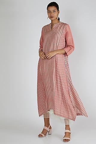 Peach Printed Silk Tunic by Avni Bhuva