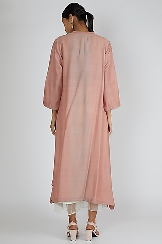 Peach Asymmetric Silk Tunic by Avni Bhuva