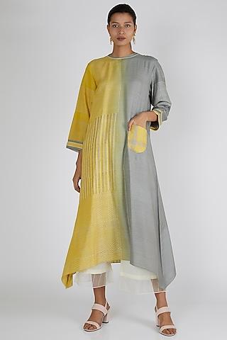 Yellow & Grey Asymmetric Tunic by Avni Bhuva