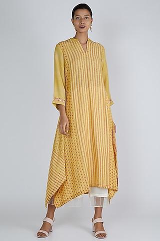 Yellow Asymmetric Tunic by Avni Bhuva