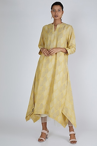 Yellow Asymmetric Printed Tunic by Avni Bhuva