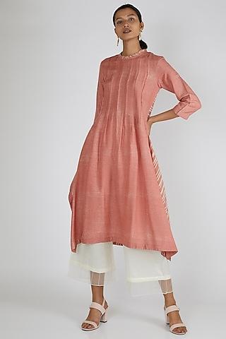 Peach Silk Tunic by Avni Bhuva