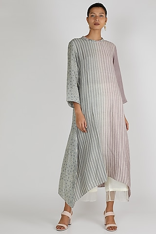 Grey & Mauve Asymmetric Tunic by Avni Bhuva