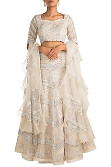 Ivory Embroidered Lehenga Set by AWIGNA by Varsha and Rittu