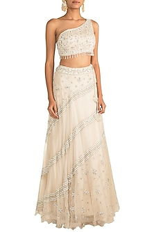 Ivory Embroidered Drape Lehenga Set by AWIGNA by Varsha and Rittu
