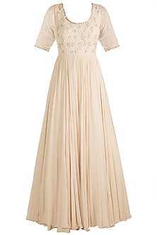 Ivory Embroidered Anarkali Gown With Dupatta by AVIGNA by Varsha and Rittu