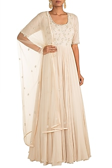 Ivory Embroidered Anarkali Gown With Dupatta by AWIGNA by Varsha and Rittu