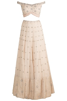 Ivory Embroidered Kalidar Lehenga Set by AWIGNA by Varsha and Rittu