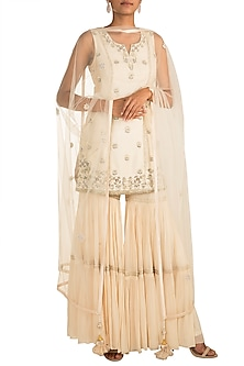 Ivory Embroidered Sharara Set by AVIGNA by Varsha and Rittu