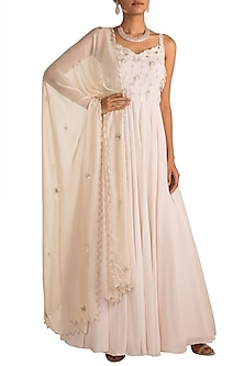 Ivory Embroidered Anarkali With Dupatta by AWIGNA by Varsha and Rittu
