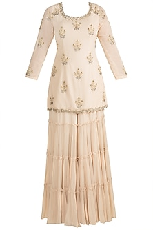 Ivory Pearl Embroidered Sharara Set by AWIGNA by Varsha and Rittu