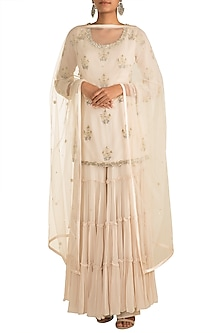 Ivory Pearl Embroidered Sharara Set by AVIGNA by Varsha and Rittu