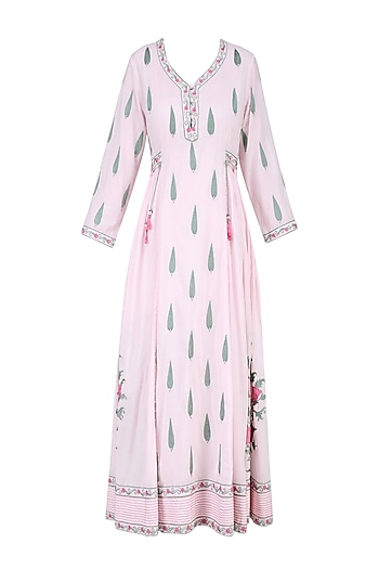 Powder Pink and Green Floral Embroidered Anarkali Tunic by Abhishek Vermaa