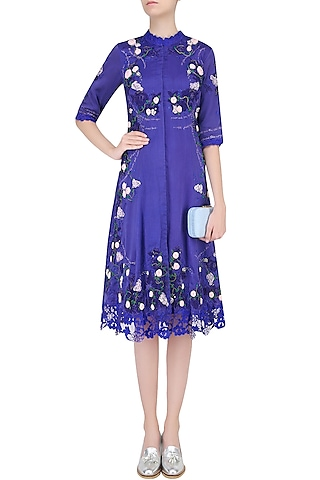 Blue 3D Rose Motifs and Lace Cutwork Tunic by Abhishek Vermaa