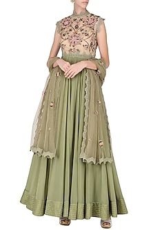 Olive Green Embroidered Anarkali Set by Abhishek Vermaa