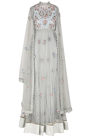 Sea Blue Embroidered Cape Style Anarkali Set by Abhishek Vermaa