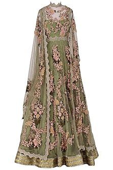 Green Embroidered and Laser Cut Anarkali Set by Abhishek Vermaa
