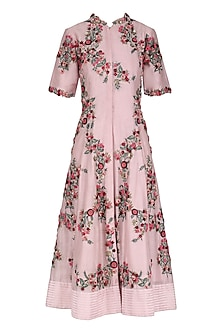 Ivory and Pink Front Open Knee Length Tunic by Abhishek Vermaa