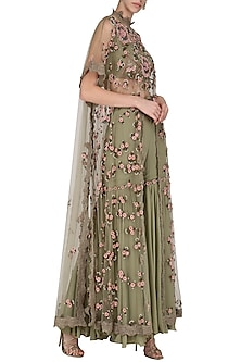 Olive Green Embroidered Long Cape with Sharara Pants Set by Abhishek Vermaa