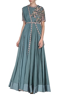 Teal 3D Floral Embroidered Anarkali Set by Abhishek Vermaa