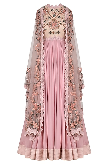 Lilac Pink 3D Floral Embroidered Anarkali Set by Abhishek Vermaa