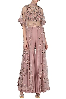 Dusky Pink Embroidered Long Cape with Sharara Pants Set by Abhishek Vermaa