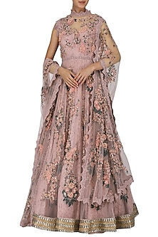 Dusky Pink Embroidered and Laser Cut Anarkali Set by Abhishek Vermaa
