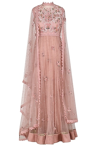 Blush Pink Embroidered Drape Dupatta Anarkali Set by Abhishek Vermaa
