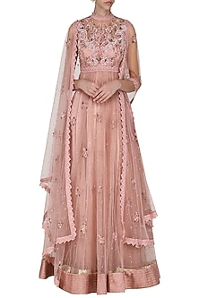 Blush Pink Embroidered Drape Dupatta Anarkali Set by Abhishek Vermaa