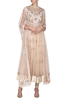 Ivory Embroidered Drape Dupatta Anarkali Set by Abhishek Vermaa