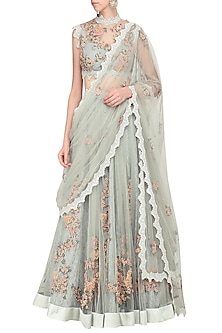 Blue Floral Embroidered Laser Cut Lehenga Set by Abhishek Vermaa