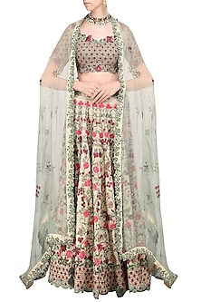 Light Gold Embroidered Lehenga Set by Abhishek Vermaa