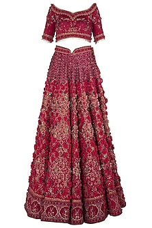 Wine Red Embroidered Lehenga Set by Abhishek Vermaa