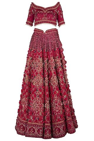 Wine Red Embroidered Lehenga Set by Abhishek Vermaa