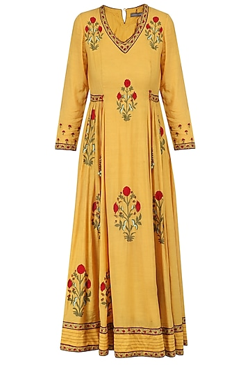 Mustard Embroidered Samode Tunic by Abhishek Vermaa