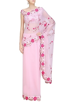 Soft Pink Vintage Roses Embroidered Saree and Blouse Set by Abhishek Vermaa