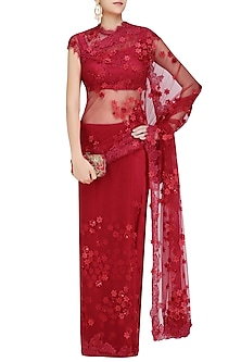 Cranberry Red 3D Flowers Embroidered Saree and Blouse Set by Abhishek Vermaa