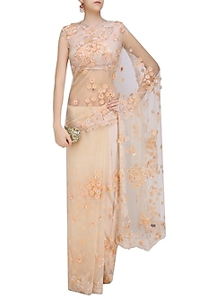 Peach 3D Flowers Embroidered Saree and Blouse Set by Abhishek Vermaa