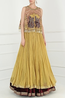 Gold and Wine Lehenga with Embroidered Cape Set by Avdi