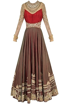 Red and Gold Embroidered Anarkali Set by Avdi