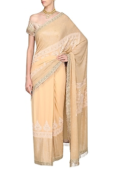 Gold Embrodiered Saree with Off Shoulder Blouse by Avdi