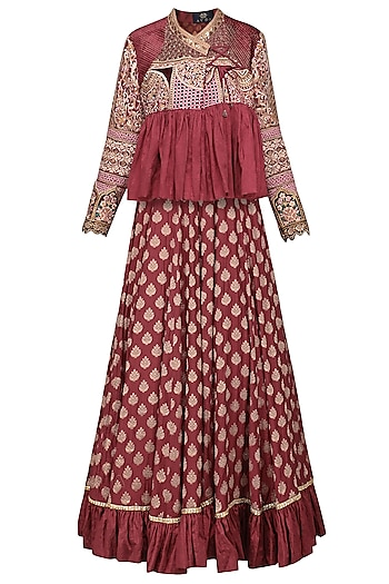 Burgundy Embroidered Jacket with Lehenga Skirt by Avdi