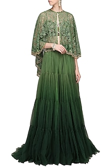 Olive Green Embroidered Cape with Lehenga and Bustier by Avdi